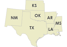 Texas, Louisiana, Mississippi, Arkansas, Oklahoma, New Mexico, Kansas