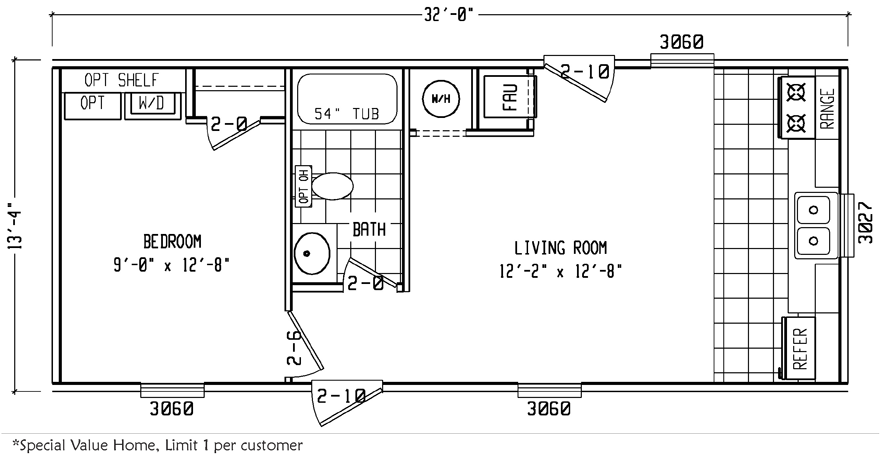 Thrifty 14 x 32 426 sqft mobile home factory expo home for 14 x 60 mobile home floor plan