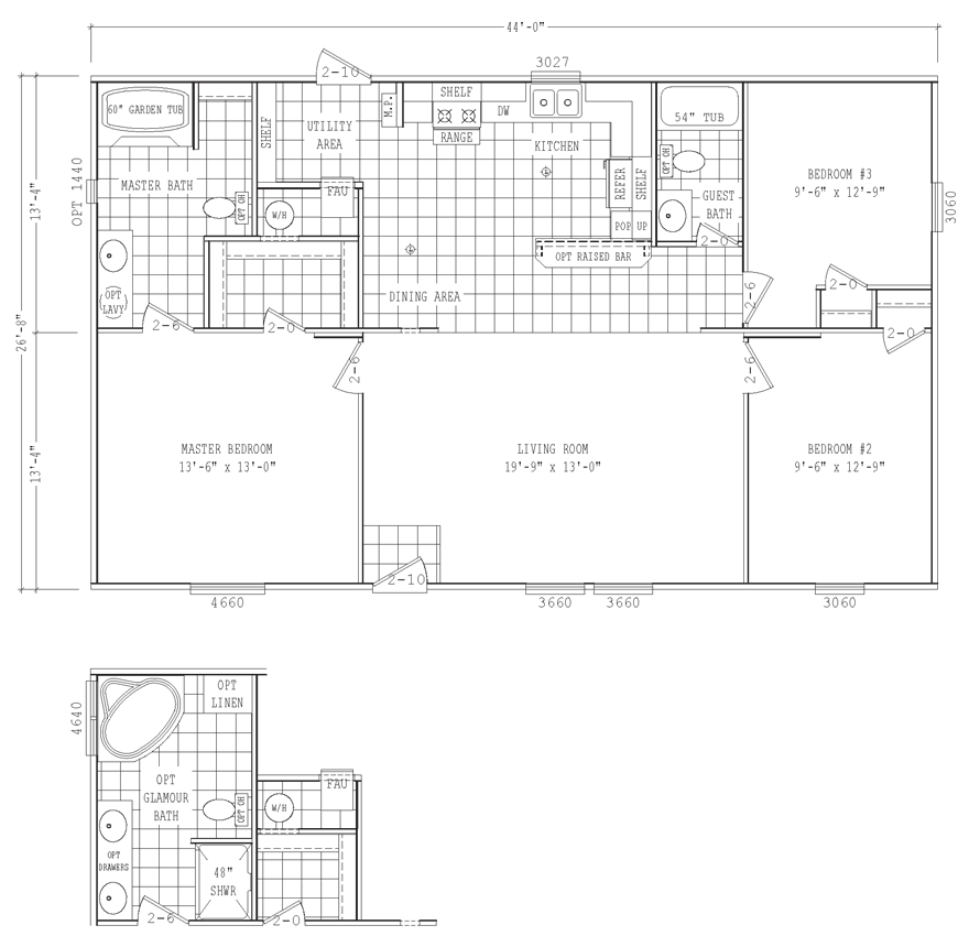 Elmendorf mobile home floor plan is a double wide