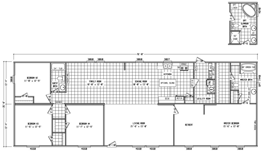 Harland Mobile home floor plan double wide